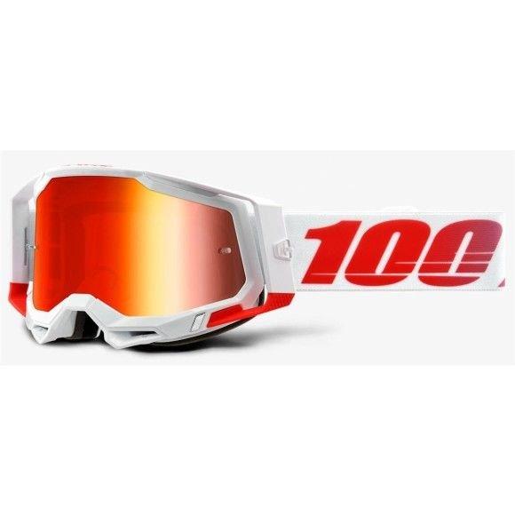Occhiali Off-Road 100% The Racecraft 2 modello St-Kith lente specchiata mirror red lens (Compreso nel prezzo anche: Lente trasparente extra e Tear-Off extra)