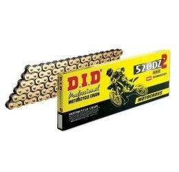 Catena DID 520 DZ2 Gold & Black passo 520 Off-Road 120 maglie senza O-RING e con giunto a clip