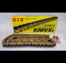 Catena DID 520 VX3 Gold & Black passo 520 120 maglie con X-RING e giunto a rivetto