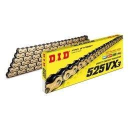 Catena DID 525 VX3 Gold & Black passo 525 120 maglie con X-RING e giunto a rivetto