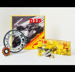 Kit trasmissione DID per Aprilia Caponord 1000 ABS 01-07 (Catena DID 525-ZVMX 112 maglie - Pignone 17 - Corona 45 - Passo 525)