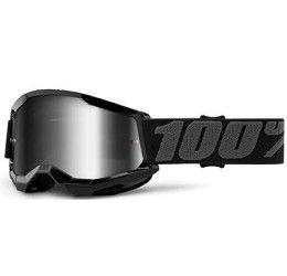 Maschera Off-Road 100% The Strata 2 Youth modello Black lente specchiata silver