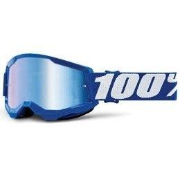 Maschera Off-Road 100% The Strata 2 Youth modello Blue lente specchiata blue