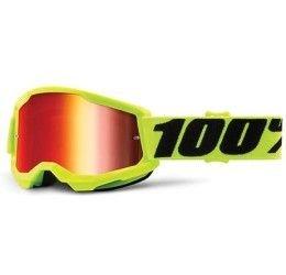 Maschera Off-Road 100% The Strata 2 Youth modello Fluo Yellow lente specchiata Red