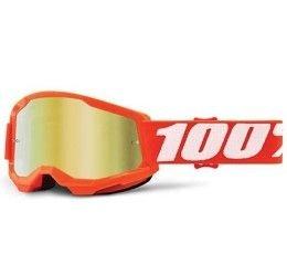 Maschera Off-Road 100% The Strata 2 Youth modello Orange lente specchiata gold