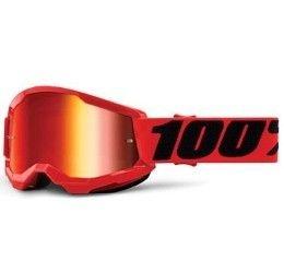 Maschera Off-Road 100% The Strata 2 Youth modello Red lente specchiata Red