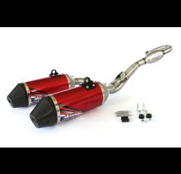 Scarico completo HGS T1 con collettore in acciaio e terminale alluminio con fondello in carbonio per Honda CRF 250 R 14-17 Rossi (Coppia)