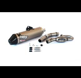 Scarico completo HGS T1 con collettore in acciaio e terminale alluminio con fondello in carbonio per Kawasaki KXF 250 17-19