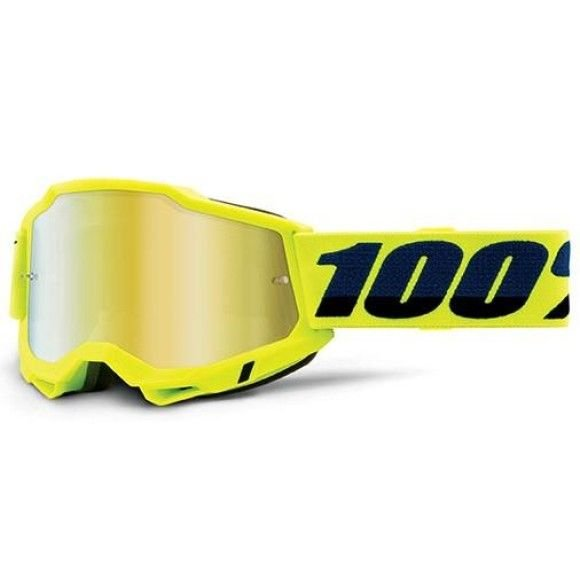 Off-Road Goggle 100% The Accuri 2 model Yellow Mirror gold lens (Also included: Clear lens extra)