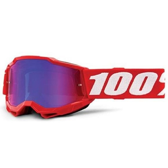 Off-Road Goggle 100% The Accuri 2 Youth model Neon Red Mirror red-blue lens (Also included: Clear lens extra)
