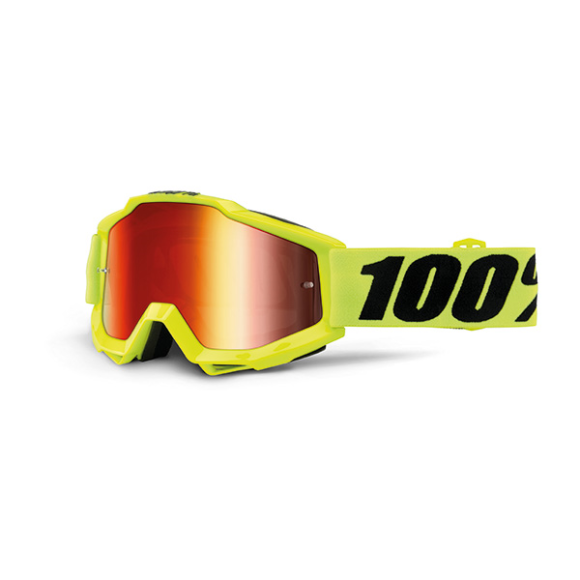 Off-Road Goggle 100% The Accuri model Fluo Yellow Mirror red lens (Also included: Clear lens extra) (LAST AVAILBLE)