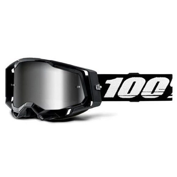 Off-Road Goggle 100% The Racecraft 2 model Black Mirror silver lens (Also Included: Clear lens extra and Stack of Tear-Off extra)