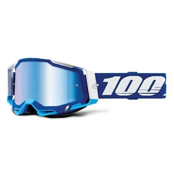 Off-Road Goggle 100% The Racecraft 2 model Blue Mirror blue lens (Also Included: Clear lens extra and Stack of Tear-Off extra)