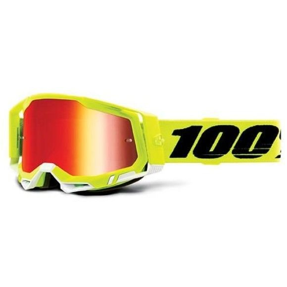 Off-Road Goggle 100% The Racecraft 2 model Yellow Mirror red lens (Also Included: Clear lens extra and Stack of Tear-Off extra)