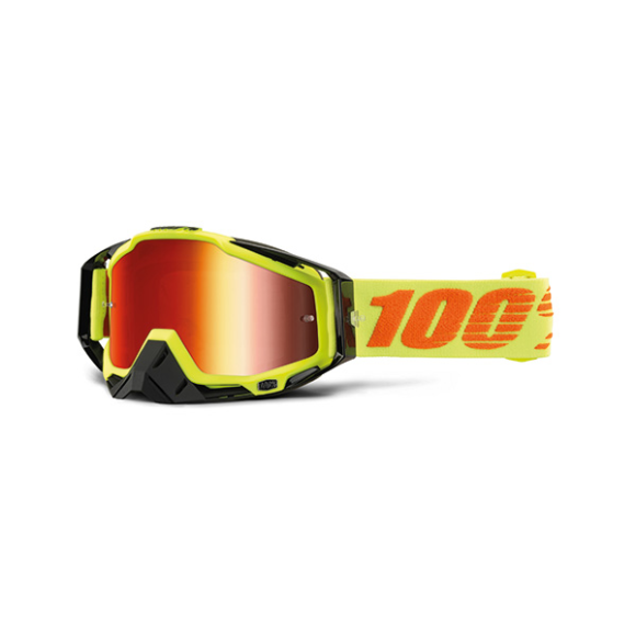 Off-Road Goggle 100% The Racecraft model Neon Attack Mirror red lens (Also Included: Clear lens extra and Stack of Tear-Off extra) (LAST AVAILABLE)