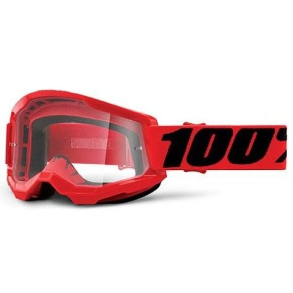 Off-Road Goggle 100% The Strata 2 model Red Clear lens