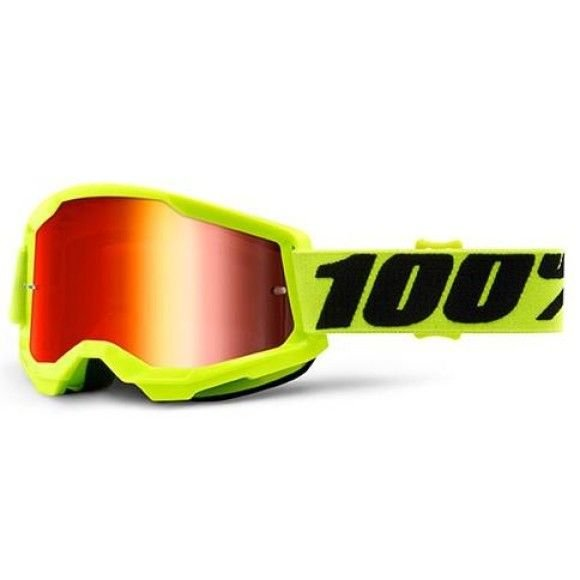 Off-Road Goggle 100% The Strata 2 model Yellow mirror red lens