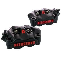 Kit of 2 radial monoblock forged brake calipers Accossato black anodized version 100mm pitch with pads